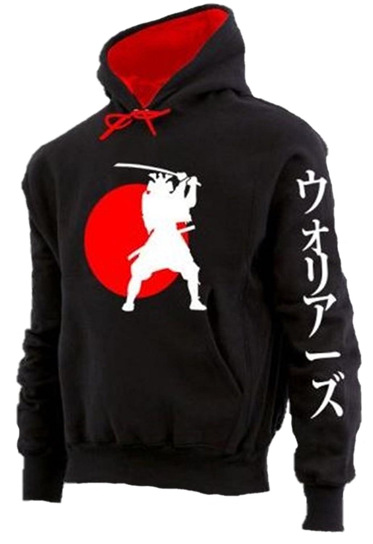 Übergrößen     Designer Sweatshirt HONEYMOON Samurai schwarz rot 3XL bis 12XL