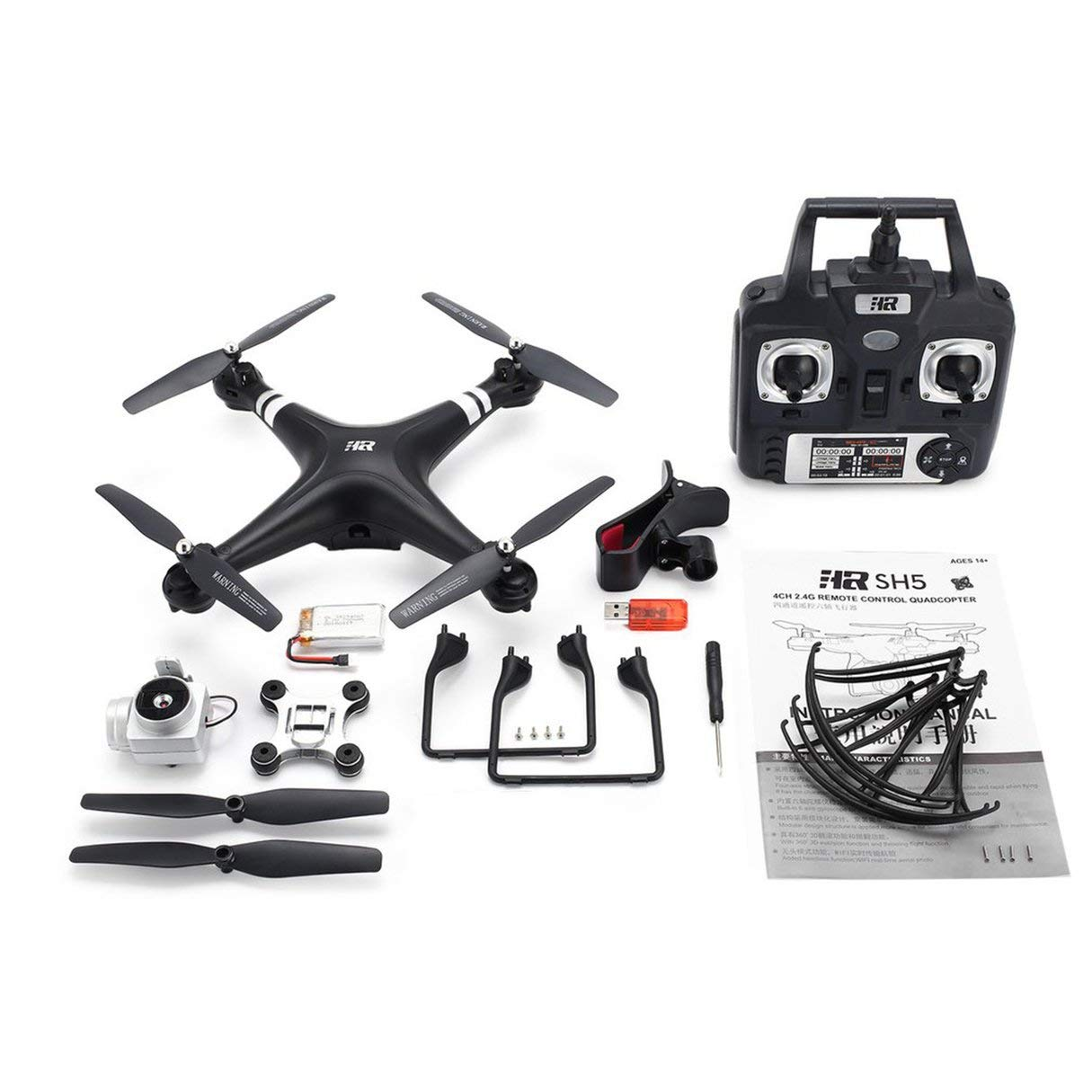 SH5H 2.4G FPV Drone RC Quadcopter with 720P WiFi Camera Live Video Height Stop Headless Mode