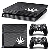 Ps4 Playstation 4 Console Skin Decal Sticker Weeds Black + 2 Controller Skins Set