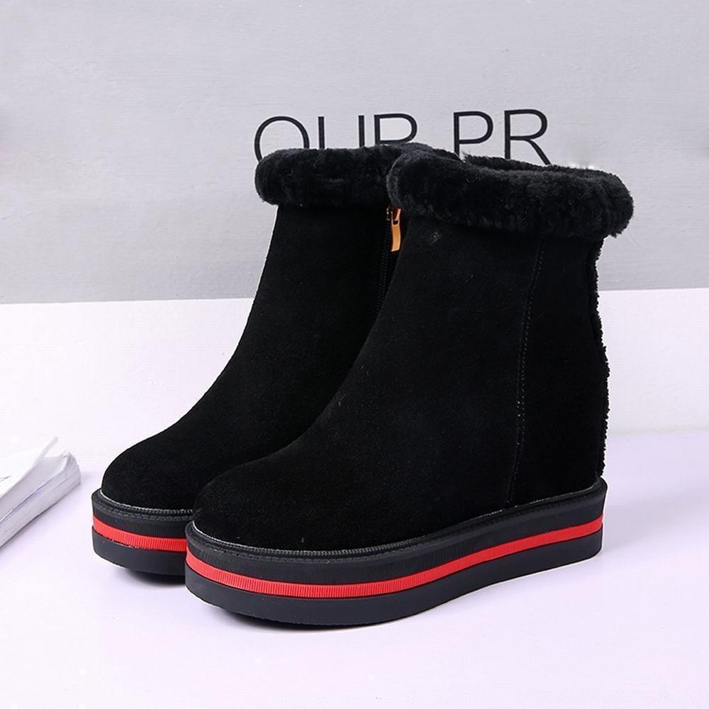 DXD Herbst und Winter Frauen Stiefel Erhöht High-End-Mode High-End-Mode Erhöht Schuhe Einfarbig Warme Baumwolle Schuhe Schwarz 6849a1