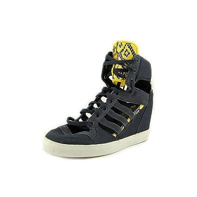 timeless design d8c14 365e0 Amazon.com Adidas Attitude Cutout Up EF Wedge - Navy  Yellow, 9 B US  Shoes