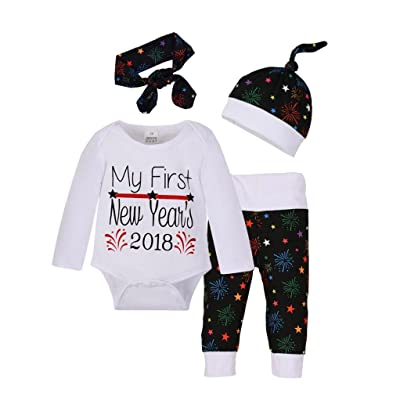 4pcs Newborn Baby Cotton Print Romper+Pants+Hat Happy New Year Outfits Clothes