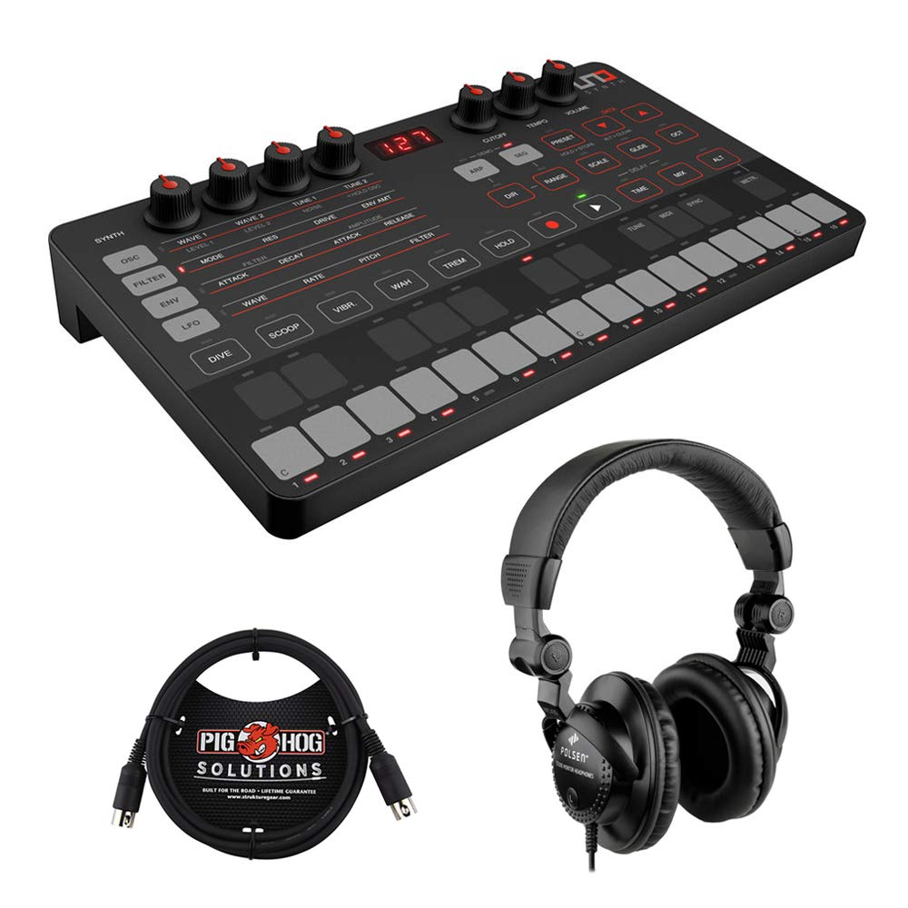 IK Multimedia UNO Synth Portable Monophonic Analog Synthesizer with Polsen HPC-A30 Headset & MIDI Cable Bundle