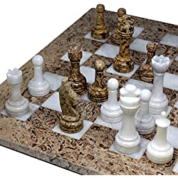 16 x 16 inch Unique Hand Carved Fossil Coral Stone & White Onyx Marble Chess Set - Including Complementary Velvet Case! (FW)