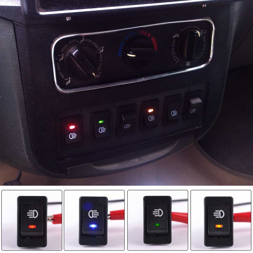 4xled Lighted Toggle Switch Rocker 12v 35a On Off For Fog Light Car Red Led Truck Suv Motorbike