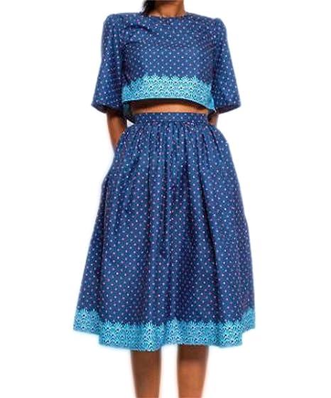 c10ac4de159d6 Women Floral 2 Pieces Outfits Half Sleeve Round Neck Crop Top Pleated Midi  Skirt 2 PC