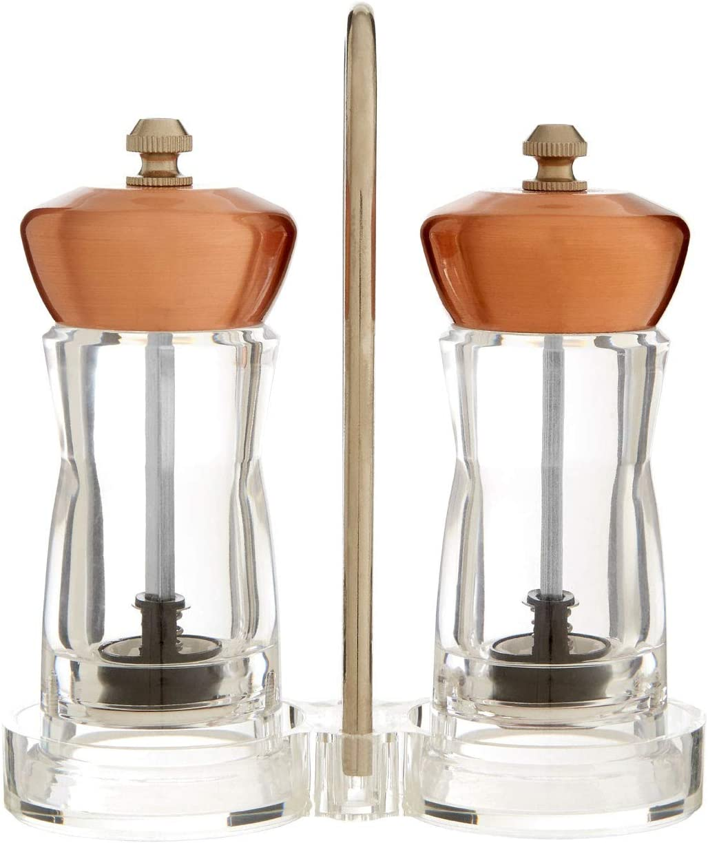 Salt And Pepper Copper Mill Set With Stand For Home Kitchen Food Amazon Co Uk Home Kitchen
