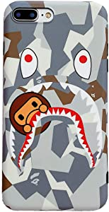 Hoolcase iPhone 8 Plus/iPhone 7 Plus Soft Case, Street Fashion Shark Face Designed Cover, Sleek Smooth Non Faded Slim Protective Anti-Scratch Phone Case for iPhone 7 Plus/8 Plus 5.5-inch (BAIYU)