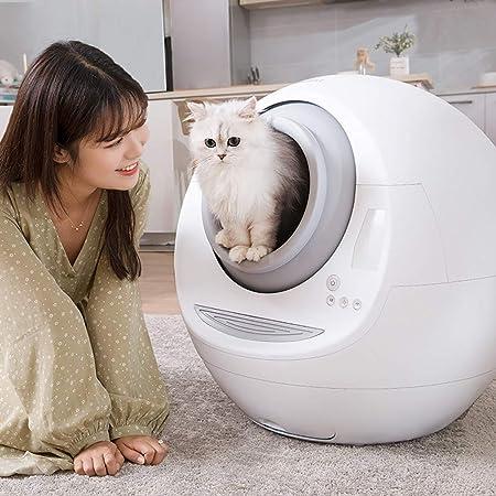 Gato inteligente automático de la caja de arena, completamente cerrado WC gato automática, La expulsión automática de olor anti-salpicaduras de bajo ruido, fácil de limpiar la caja de arena,White: Amazon.es: Hogar
