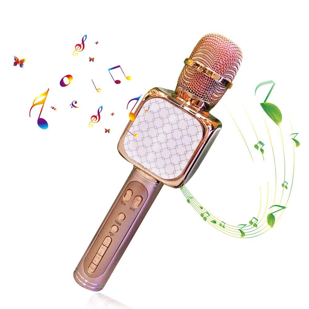 Microphone Sans Fil Karaoké, Portable Karaoké Microphone avec 2 Haut-Parleur Bluetooth Intégré, Micro Sans Fil Hf Dynamique Compatible avec Android/IOS/ PC/Smartphone, Cadeau pour Adult et Enfant