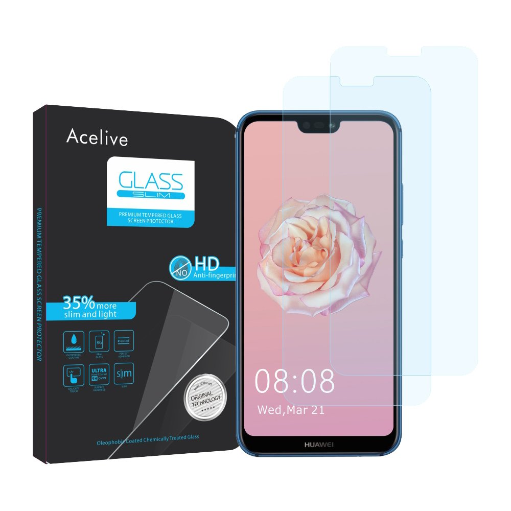 Huawei P20 Lite Film, Acelive 2-Pieces Tempered Glass Protective Film for Huawei P20 Lite (Slightly smaller than the screen size, as this is curved)