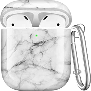 Maxjoy Compatible AirPods Case Cover, Cute Hard Shell Case Protective Shockproof Cover with Keychain Compatible with Apple AirPods Wireless Charging Case 2&1 for Girls Boys Women Men, White Marble