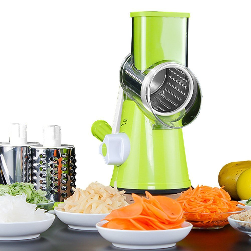 ThrSix Round Rotary Mandoline Slicer with 4 Stainless Steel Blades, Rotary Vegetable Carrot Shredder Chopper
