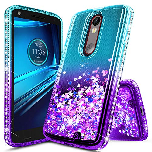 Droid Turbo 2 Case, NageBee Glitter Liquid Quicksand Waterfall Floating Flowing Sparkle Shiny Bling Diamond Girls Cute Case Designed for Motorola Droid Turbo 2 (Verizon XT1585) -Aqua/Purple