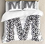 USOPHIA Letter M King Size 4 Pieces Bed Sheets Set, Diagonal and Vertical Stack of Soccer Balls Alphabet Letter M Symbol Design Floral Duvet Cover Set, Black and White
