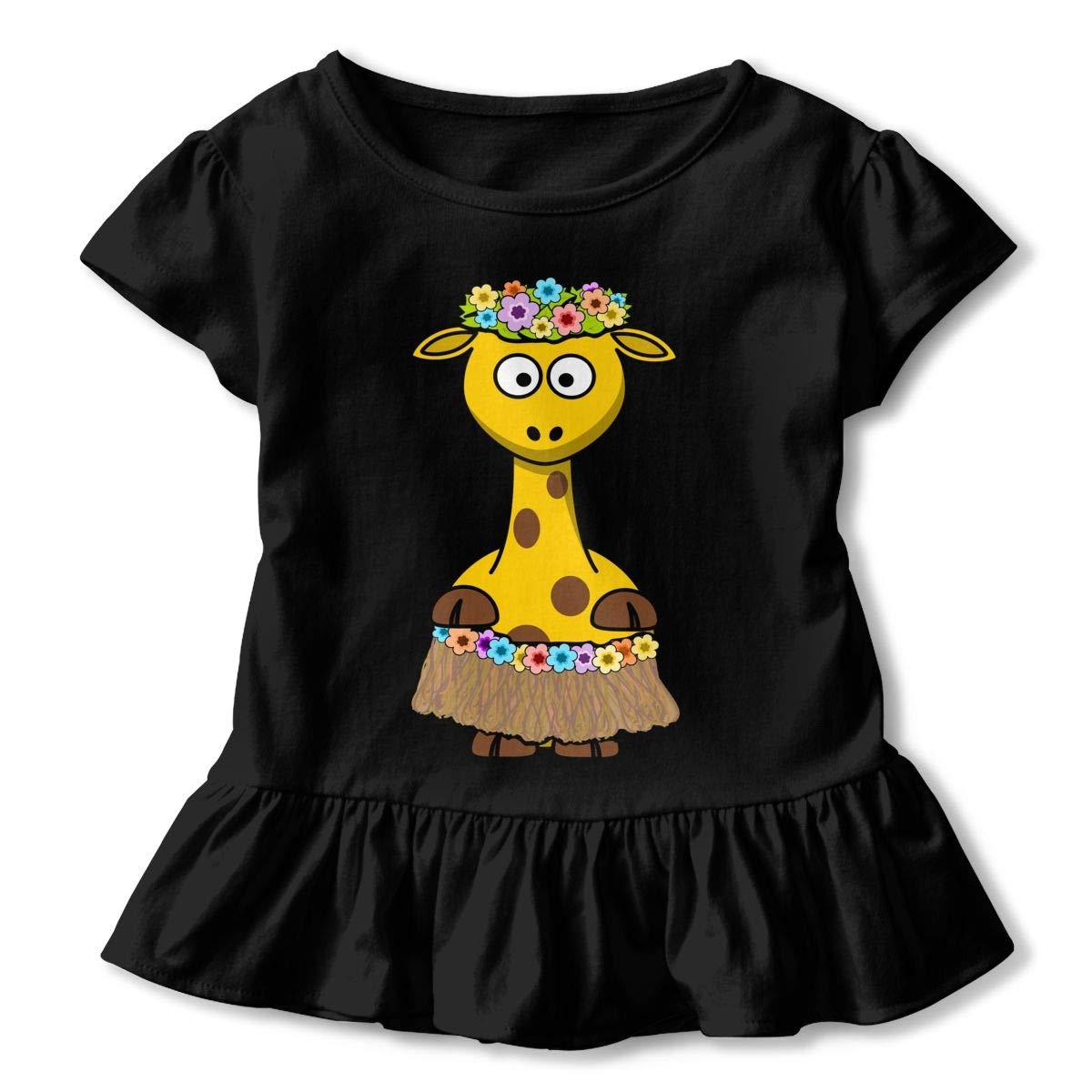 SHIRT1-KIDS Giraffe Hawaii T-Shirts Toddler//Infant Girls Short Sleeve Ruffles Shirt Tee for 2-6T