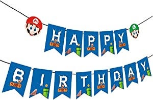 Mario Birthday Banner, Mario Birthday Theme Party Supplies,Mario Birthday Party Decoration