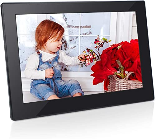 Digital Photo Frame 8 Inch 16 9 IPS Display Electronic Picture Frame 1080P High Resolution Advertising Machine with Video Player, Calendar, Alarm, Auto Power ON Off, Remote Control Jimwey