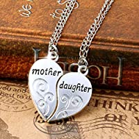 2PC/Set New Mom Mother & Daughter Love Heart Pendant Chain Necklace Charm Silver