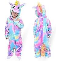 MMTX Unicornio Onesies Pijamas Unisexo Niños, Franela Animales Cosplay Disfraz Halloween Navidad Ropa de Dormir para 2…