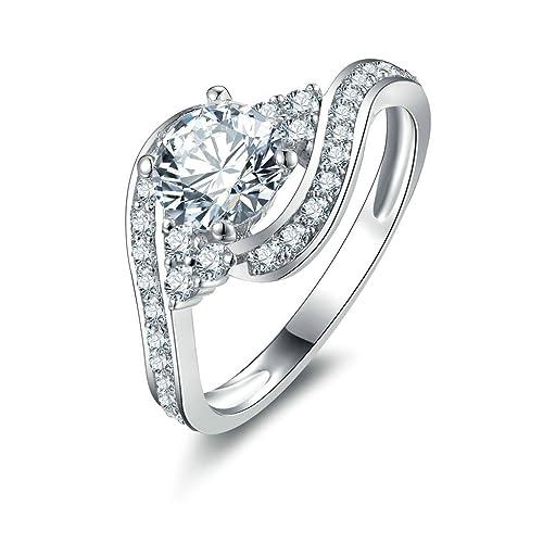 Daesar Joyería Anillos de Compromiso de Plata S925 Mujer, Solitario y Redondo Diamantes Alianzas Bandas