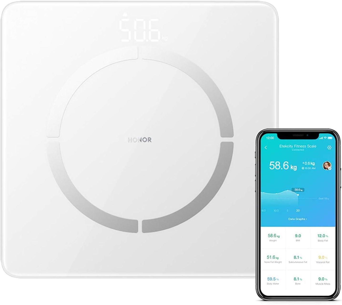 HONOR Scale 2 Báscula de Baño Báscula Grasa Corporal 14 Medidas Esenciales Báscula Inteligente Digital con Pantalla LCD para Móviles Android IOS (Blanco)
