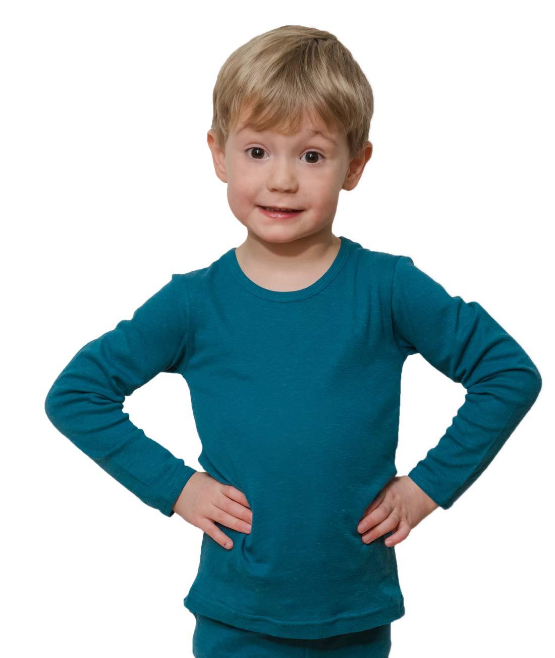 HOCOSA Children's Long Underwear Shirt, Long Sleeves in Organic Cotton/Hemp, Seagreen-Blue, Size 104 (4 yr, 40 in Tall)
