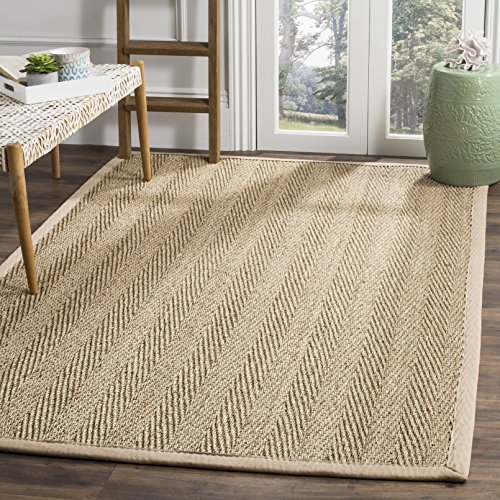 Safavieh Natural Fiber Collection NF115A Herringbone Natural and Beige Seagrass Area Rug (10' x 14')