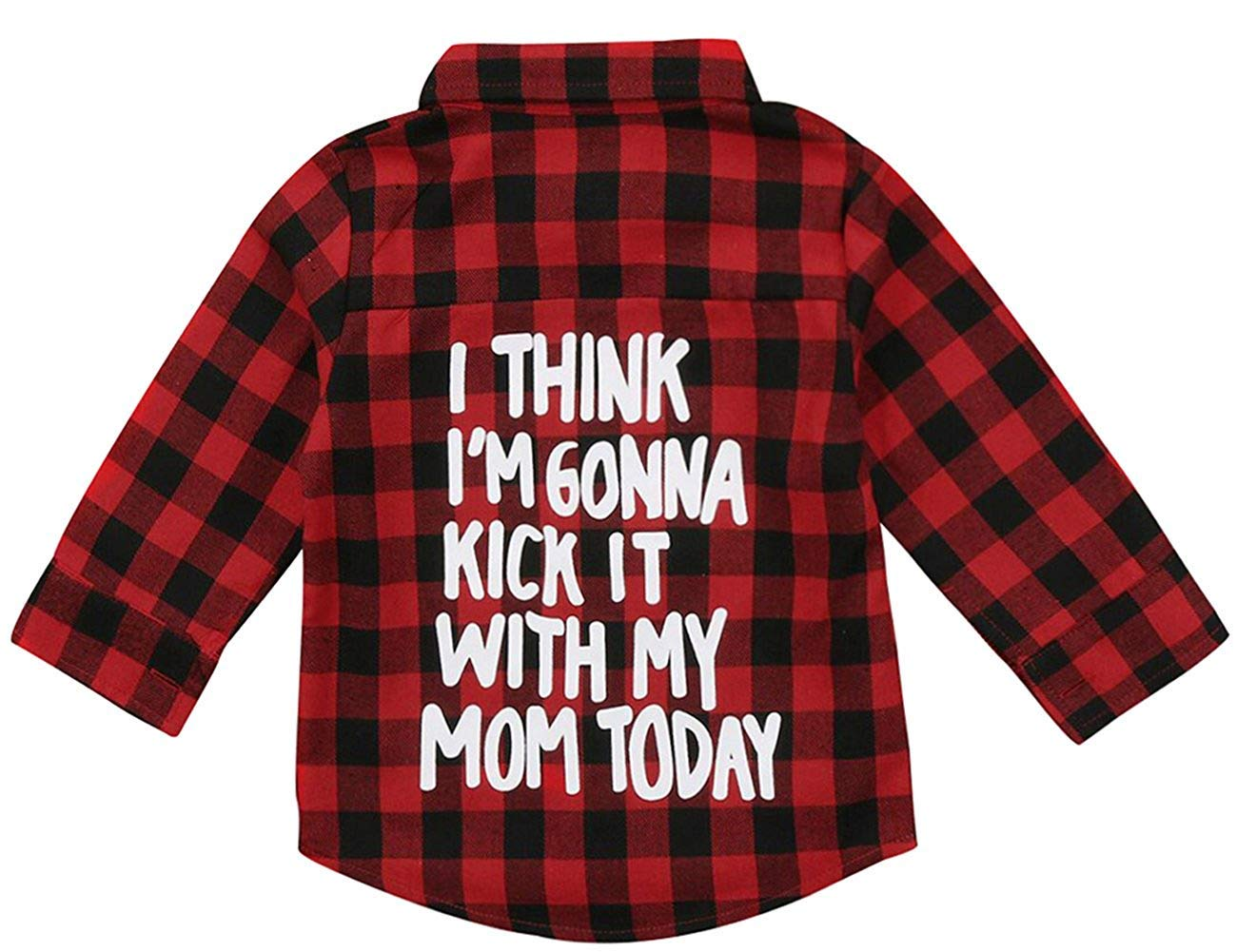 C&M Wodro Kids Little Boys Girls Baby Letters Print Long Sleeve Button Down Red Plaid Flannel Shirt (Red Plaid, 2T (1-2 Years))