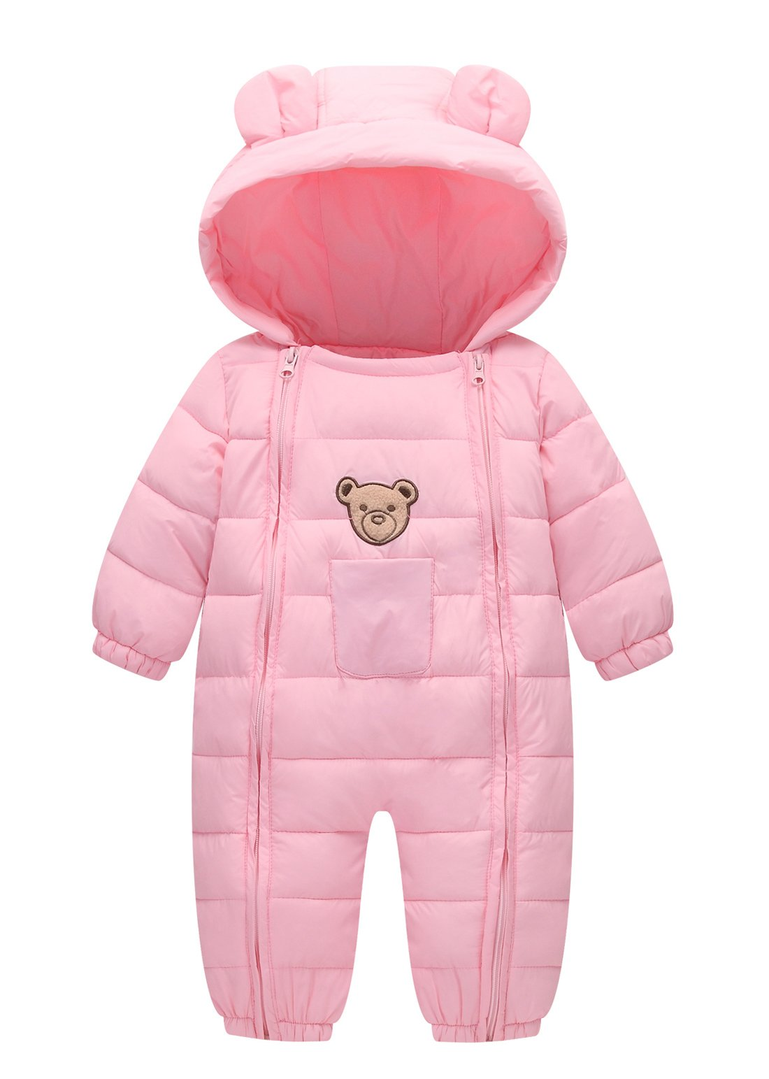 Infant Winter Warm Romper One Piece Hooded Coat Windproof Long Sleeve Jumpsuit Padded Down Snowsuit Soft Thicken Comfortable Outerwear Pink 3-9M by FEOYA