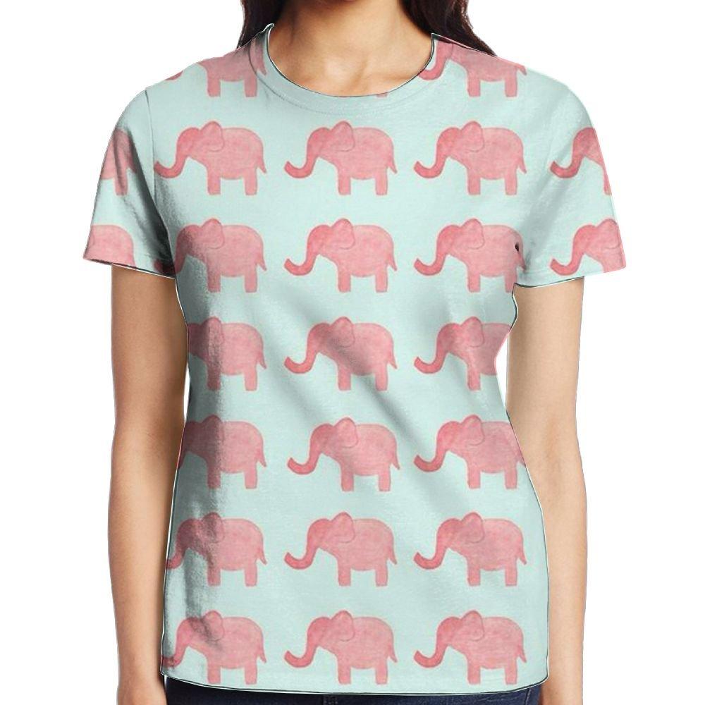 6df1335e6372 Amazon.com  UEBDLQZ Women s Short Sleeve Elephant T-Shirt Cotton Tee Full  3D Graphic Printed  Clothing