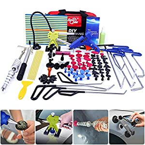 Super PDR 91Pcs PDR Rod Tools Kit Professional Hail Damage Door Ding Repair Kit Car Auto Body Paintless Dent Repair Removal Tool Set PDR Dent Puller kit Slide Hammer Push Rods