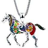 """DianaL Boutique Large Colorful Silver Tone Horse Pendant Necklace on 20"""" Mesh Chain Fashion Jewelry"""