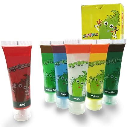 Juego de 6 de rayas pintura para niños pintura de dedos lavable con tubo niños juego