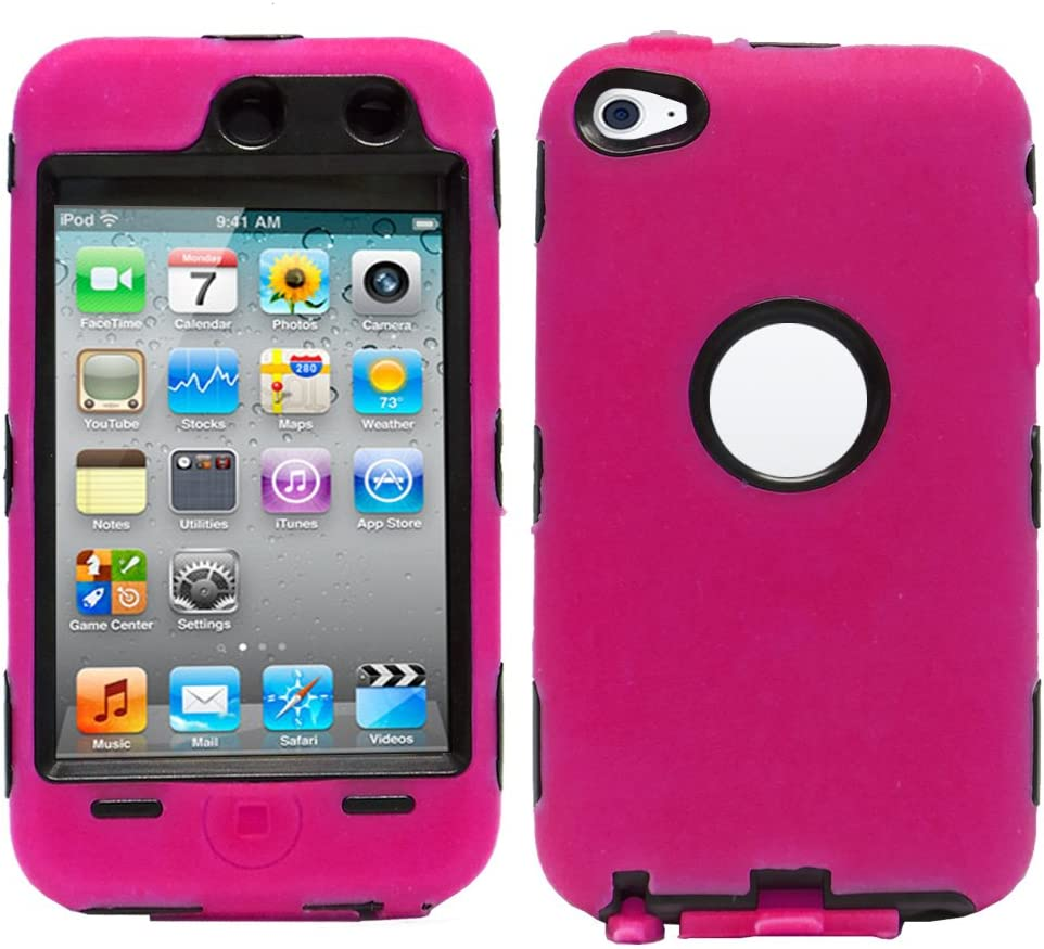 for ipod touch 4th 4 th itouch 4gen black hot pink 3 layer hybrid soft hard case