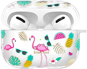 KINGXBAR 3 in 1 AirPods Pro Case Cute Protective Skin Cover for Apple AirPods Pro with Crystal from Swarovski Flamingo Design Soft TPU Cases, AirPods 3 Accessories Carabiner Anti-Lost Strap