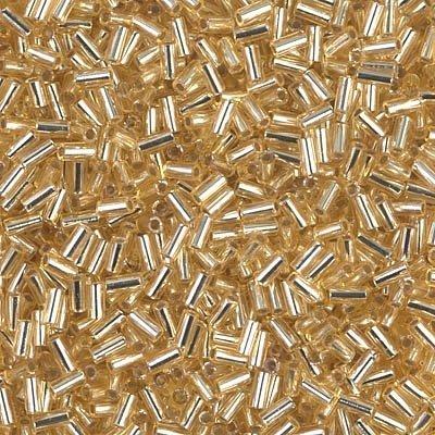 Bugle Beads Miyuki (Miyuki Bugle Beads 3mm Silver Lined Gold Approx 8.5 grams BGL1-003)