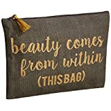 Mud Pie Jute Beauty Comes from Within Make up Bag Carry Case (8613257GY)