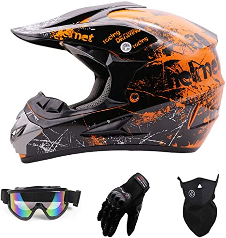 Adult Motocross Helmet Full Face Motorcycle Crash Helmet for MTB ATV Off Road Helmet Crash Helmet with Goggles Gloves Mask