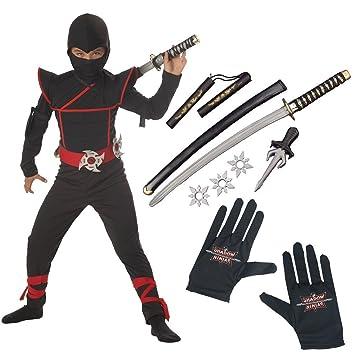 Stealth Ninja Child Costume with Gloves and Ninja Weapon Kit Husky (10-12  sc 1 st  Amazon UK & Stealth Ninja Child Costume with Gloves and Ninja Weapon Kit Husky ...