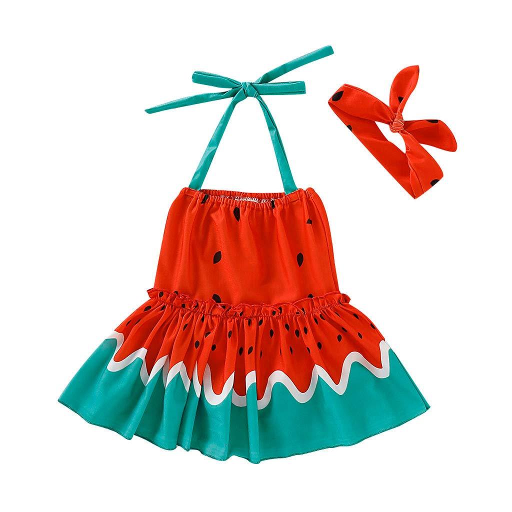 Hair Strap 2Pcs Outfits Set Dinlong Baby Girl Sleeveless Swimwear Watermelon Printed Bikini One-Piece Sling Bathing Dress