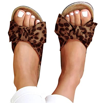 Sandals for Women Flat, Women's 2020 Fashion Bow Comfy Platform Sandal Shoes Summer Beach Travel Fashion Slipper Flip Flops at Women's Clothing store
