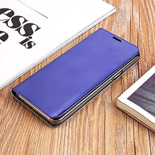 Samsung Galaxy J7 Nxt Inteligente Funda, Vandot Completo Clear View Standing Cover Flip Funda Carcasa con Función Kickstand [Soporte Sleep/Wake UP] Ultra Delgado Slim Translúcido Tapa Espejo Smart Cov Clear View-4