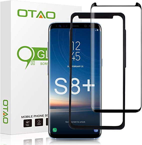 Case Friendly Full Screen Coverage Glass Screen Protector for Samsung Galaxy S 9 Plus with Installation Tray 2 Pack Galaxy S9 Plus Screen Protector Tempered Glass OTAO 3D Curved Dot Matrix