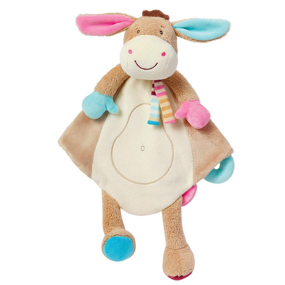 Fehn 081299 Schmusetuch Deluxe Esel – Stofftier-Schnuffeltuch mit Befestigungsring für Schnuller zum Greifen, Fühlen und Liebhaben für Babys und Kleinkinder ab 0+ Monaten Bild