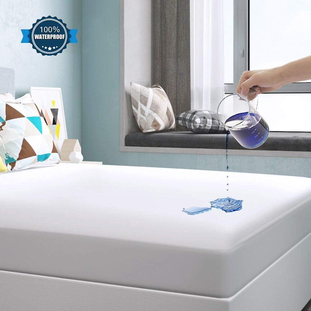 Yoofoss Protector de Colchón Impermeable Cubrecolchón 140x190/200cm Ultra Suave y Transpirable 100% Tencel Hipoalergénico & Anti-Ácaros