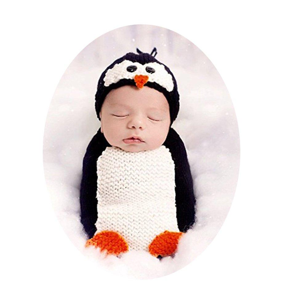 Binlunnu新生児写真撮影プロップ赤ちゃん男の子女の子フォト服装かぎ針編みコスチュームペンギンかわいいバッグ   B076PC9NZJ