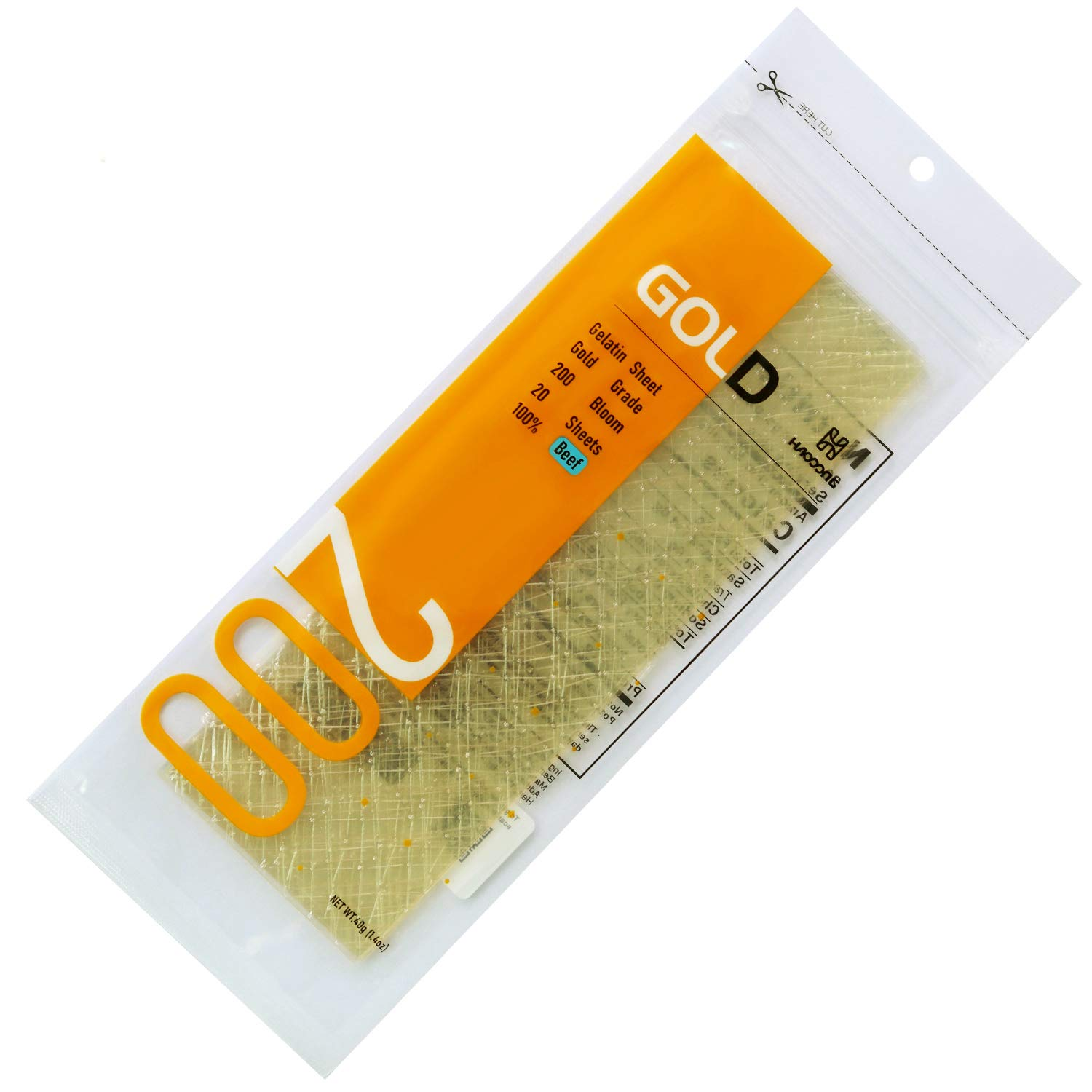 Haodong Beef Gold Leaf Gelatin Sheets - 200 Bloom (20Sheets, 40g) - Gelatin Leaves for Baking and Cooking Mirror Glaze Mousse Cake