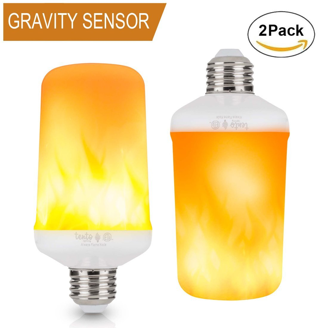 LED Flame Bulb Upside Down Pack of 2, Flickering Light Bulbs Fire Light Effect 5 Watts Always Flame Mode E26 Camp Lantern Indoor Outdoor Edison Base Decoration Light Bulb