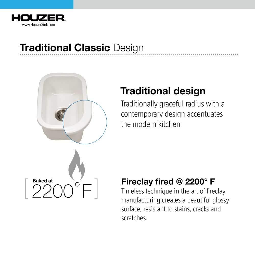 Houzer PTB-1318 WH Fireclay Bar Sink White by HOUZER (Image #5)